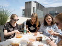 Enjoying lunch on the LTL rooftop