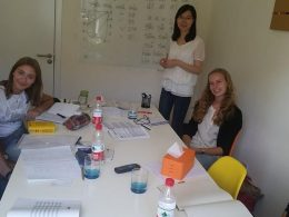 Teacher Jacqueline with her small group class in Beijing