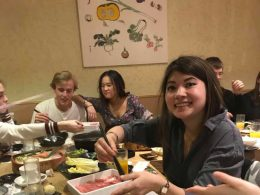 LTL student Inge enjoying Chinese hot pot in Beijing