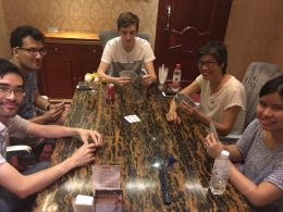 Playing cards with the locals in Chengde