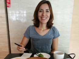 Nadia enjoying the local delicacies in Shanghai