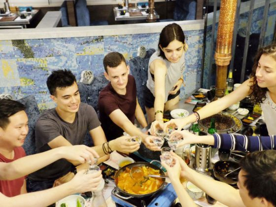 Time for a toast and some food in Shanghai